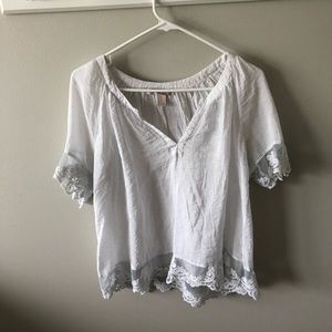 Forever 21 Sheer White Lace Top